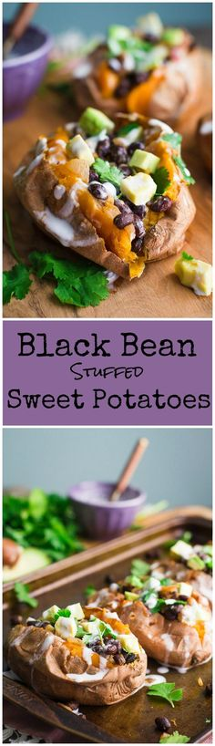 Black Bean Stuffed Sweet Potatoes- this recipe is VEGAN GLUTEN-FREE and very easy to make. Makes for a filling and healthy dinner!
