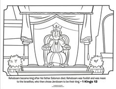 Kids coloring page from What's in the Bible? featuring King Rehoboam from 1 Kings 12. Volume 6: A Nation Divided.