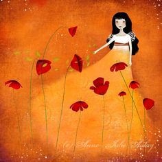 Beautiful art by Anne-Julie Aubry Orange Art, Orange Color, Aubry, Art Carte, Orange You Glad, Orange Crush, Julie, Cute Images, Happy Colors