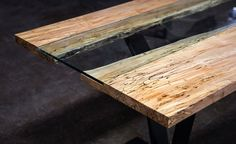 "Colorado Table by SENTIENT - ""a modern contemporary table that includes the timeless beauty of a live edge slab"""