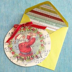 Jolly Old St. Nick Card A really fun idea!  You could also repurpose old Christmas cards this way.  Just cut a circle from the cover and write on the back.  (Make sure there isn't pre-printed writing on the back.)