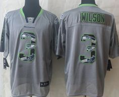 Nike Seattle Seahawks #3 Russell Wilson Lights Out Gray Ornamented Elite Jersey