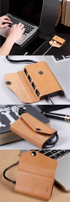 Handmade Leather Desk HUB Cord Cable Organizer Manager Management System Power Cords and Charging Accessory Cables Organizer