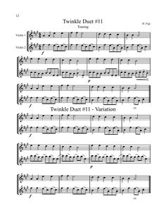 """Violin Music- Twinkle Duet: Here is a sample from the book Twinkle: Duets, Trios and Quartets by H. Figi. One of the reasons I love this duet is because the harmony part works as a melody in itself. I also like that the students can transfer it to a more """"sophisticated"""" third position variation to help grow confident in their shifting. Another great way to use this duet is to replace Twinkle Theme with Variation A. Happy music making! www.MusicforYoungViolinists.com"""