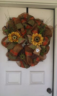 Fall Botanical  Burlap and Deco Mesh Wreath.