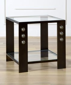 KELLY WEARSTLER | GRIFFITH END TABLE. Burnished bronze end table with half moon pyrite stones