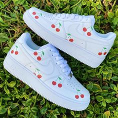 small cherry hand painted on nike af 1 waterproof Cute Sneakers, Sneakers Mode, Sneakers Fashion, Air Force One Shoes, Nike Air Force, White Nike Shoes, Nike Air Shoes, Mens Vans Shoes, Custom Painted Shoes