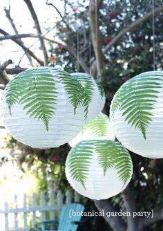 A Botanical Garden Party | hanging fern paper lanterns #LetsCelebrate #MarthaCel
