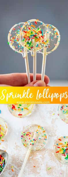 These Sprinkle Lollipops are quick to make and filled with sugar strands and sprinkles. They are just perfect for any celebration!