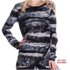 Marbled Sweater Closet fav! Long grey, blue and black marbled sweater top. Long sleeves. Cute and comfy! I am 5'3 and a size 2. I am wearing the small. This item is available. Don't forget to check out my Deal of the Month listing! Hangar 27 Tops Tunics
