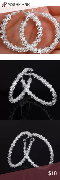 925 Silver Round Hoop Dangle Earrings 100% Brand new  Color: Silver  material: Silver  Package Included:1 pair of errings Jewelry Earrings