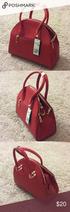 Red purse, vegan leather, satchel style, NWT Brand new, red, satchel, four pockets with zips, additional long straps. Cell phone plus coin pockets with zips inside. Bags Satchels