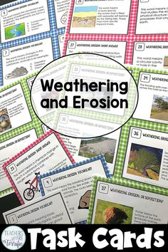 Task cards for weathering and erosion in full color and an ink saver set! Weathering And Erosion, Engineering Design Process, Third Grade Science, Science Topics, Stem Challenges, Task Cards, Social Studies, Things To Think About, Teaching Ideas