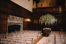Aisle & Altar at Hengrave Hall with Wisteria Tree - Modern Vintage Weddings Photography   Photography by Bea   WE ARE // THE CLARKES Films   Katrina Otter Weddings   Multicultural Wedding at Hengrave Hall Suffolk