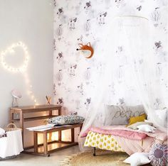 59 Ideas for baby girl room wallpaper fun Kids Room Design, Room Interior Design, Home Interior, Baby Design, Girl Room, Girls Bedroom, Baby Room, Child Room, Cloud Wallpaper
