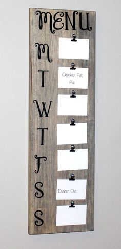 Barnwood Rustic Menu Board (31 Tall, holds 3.5 x 5 cards) Great Weekly Menu Planner for the busy mom! This menu board is a fun, easy way to get organized and involve the family with meal planning while adding a touch of rustic chic decor to your kitchen! It is so convenient to clip your recipes or daily meal plans to the menu board (hint: switch them around & use them again when needed) • • • PLEASE ALLOW APPROX. 2 WEEKS FOR YOUR ORDER TO SHIP • • • -------------------------------------...