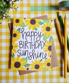 Diy Birthday Gifts Discover Happy Birthday Sunshine Sunflowers Celebrate Birthday Card watercolor flowers Greeting Card daisy you are my sunshine hand lettered Watercolor Birthday Cards, Birthday Card Drawing, Watercolor Cards, Watercolor Flowers, Watercolor Sunflower, Card Birthday, Happy Birthday Painting, Birthday Quotes, Birthday Wishes