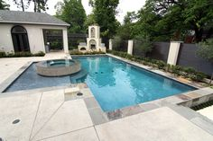 Modern Style Custom Inground Swimming Pool Spa And Outdoor Fireplace Located In Houston Texas Preferred Pools