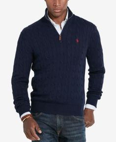 Polo Ralph Lauren Men's Cable-Knit Mock Neck Sweater $98.50 Perfect for layering, this half-zip sweater is cable-knit from soft cotton. A leather zipper pull and Polo Ralph Lauren's signature embroidered pony are classic finishing touches.
