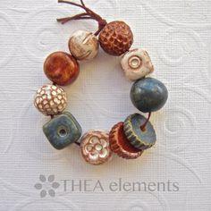 Handmade ceramic bead set stoneware bead set by THEAElements, £9.00