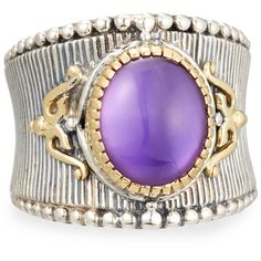 Konstantino Erato Amethyst Doublet Band Ring ($380) ❤ liked on Polyvore featuring jewelry, rings, purple, filigree ring, round ring, amethyst rings, filigree band ring and wide-band rings