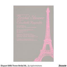 Elegant Eiffel Tower Bridal Shower Invitations