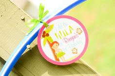 A hula hoop favor for a hula party - too cute!