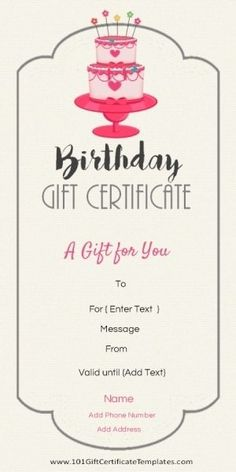 Free Printable Birthday Gift Certificate Template That Can Be Customized Online With Our Maker