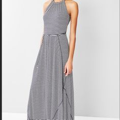 GAP Maxi dress Navy stripe maxi dress. Size XS but can be for a Small also.Contrast stitching and tie at waist for added detail. Flattering for any shape. GAP Dresses