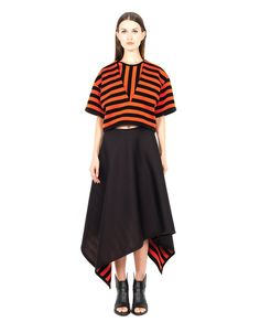 MARIOS STRIPED TOP S/S 2016 Striped splitted top Black and orange variant V-neck short sleeves removable lower panel 68% MD 32% PL