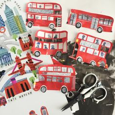London Buses by Tracey English Cut paper collage 3d Paper Art, Paper Artist, Paper Crafts, Cut Paper, Collage Illustration, Collage Art, Painting For Kids, Art For Kids, Art Transportation