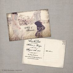 vintage save the date postcard the melania 38 00 via etsy