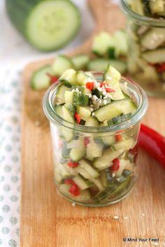 Atjar Ketimoen - Indonesische komkommer - Mind Your Feed - Pureed Food Recipes, Veggie Recipes, Healthy Recipes, Dutch Recipes, Asian Recipes, Good Food, Yummy Food, Healthy Slow Cooker, India Food