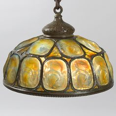 """Tiffany Gold and Yellow Opalescent """"Turtleback"""" Tile Chandelier - Macklowe Gallery Tiffany Chandelier, Chandelier Pendant Lights, Vintage Chandelier, Vintage Lamps, Modern Chandelier, Vintage Industrial Lighting, Industrial Light Fixtures, Vintage Light Fixtures, Antique Lighting"""