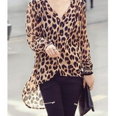 Elegant Leopard Animal Pattern V Neck Women's Shirt