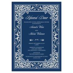 Classic Vignette Rehearsal Dinner Invite (blue) on CafePress.com