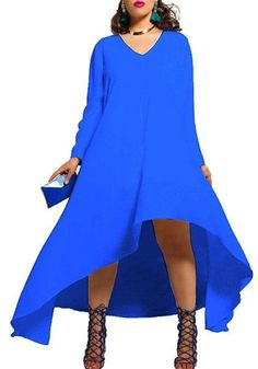 Sexy Plus Size V Neck Long Sleeve Irregular Long Dress