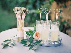 Cocktails with heart stirrers: http://www.stylemepretty.com/2014/10/07/glamorous-floral-wedding-in-marbella-spain/ | Photography: Sandoval Studios - http://www.sandovalstudios.com/