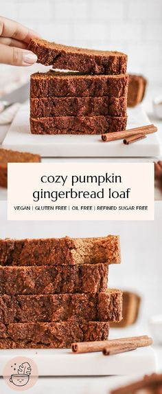 This Pumpkin Gingerbread Loaf is the coziest loaf there is, great for breakfast, snack or dessert. It's vegan, gluten-free, oil free and refined sugar free. Sugar Free Desserts, Sugar Free Recipes, Gluten Free Desserts, Gluten Free Vegan Pumpkin Bread, Sugar Free Treats, Healthy Vegan Desserts, Vegan Dessert Recipes, Vegan Treats, Healthy Christmas Treats