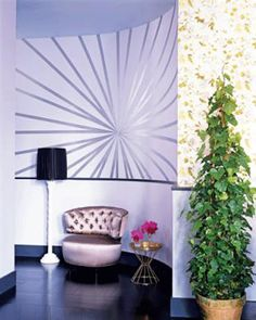 Painters tape wall mural with metallic silver paint. Glam.