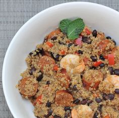 Quinoa Jambalaya made with chicken, andouille sausage, shrimp, and more.  #tasty #gluten-free #healthy #easy #recipe