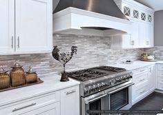 Modern white kitchen subway-marble kitchen backsplash tile from Backsplash.com