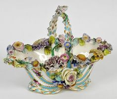 A Victorian Coalport Style Porcelain Basket, painted and encrusted with flowers. Height: 23 cm
