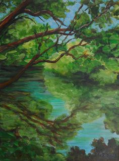 Painting is an ORIGINAL Nature Landscape in Gorgeous Greens, Blues and Browns in Acrylic