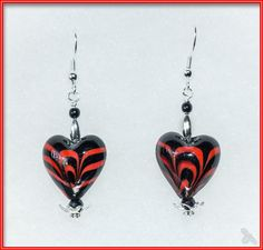 Glass Hearts in Black and Red earrings with silver embellishments