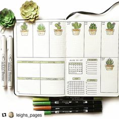 By @leighs_pages Tag your photos with #bujobeauty for a chance to be featured ・・・ This week #beforethepen, with a #succulents #cactus themeI'm trying out the vertical layout...I can already tell there won't be enough room for my daily tasks lolHave a great week everyone! #bujobeauty