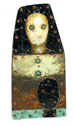 Judith Hoyt,  Eyes Only  Brooch in found metals and copper.