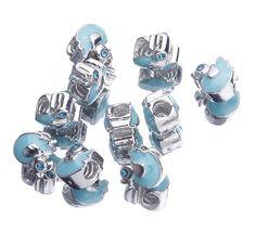 Silver Blue Duck European Charms Blue Rhinestone Loose beads Stopper fit Bracelet
