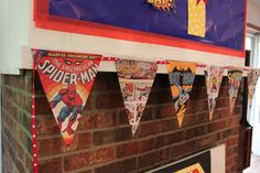 Photocopied comic book pages make great DIY bunting.