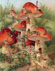 Illustration by Shirley Barber Fantasy Kunst, Fantasy Art, Art And Illustration, Creative Illustration, Art Fantaisiste, Mushroom Art, Mushroom House, Flower Fairies, Fairy Art